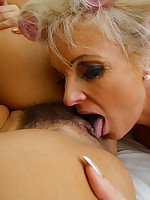 Two hot housewives get in full lesbian action
